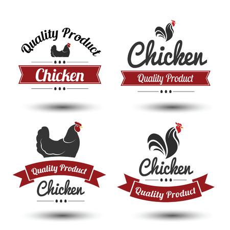 carne de pollo: etiquetas y escudos conjunto de la carne de pollo y huevos Vectores
