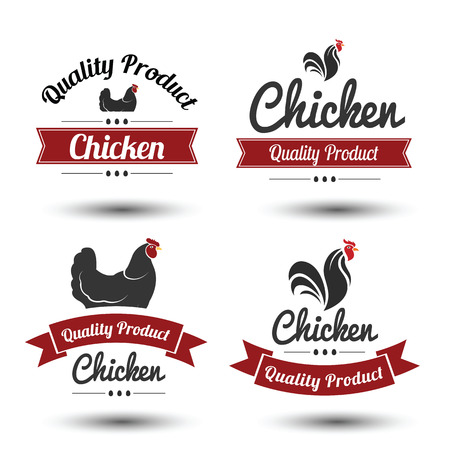 chicken meat: labels and badges set of chicken meat and eggs