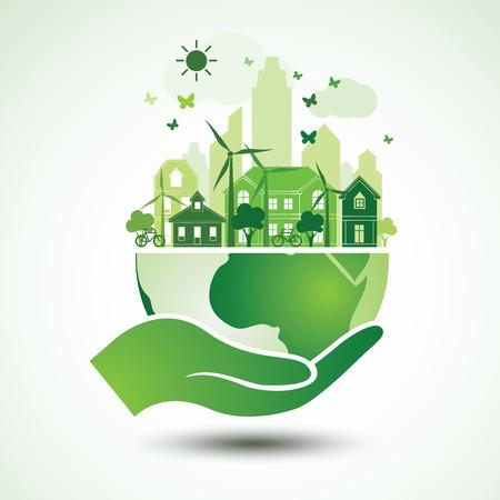 Manos que sostienen el globo de la tierra verde con la ciudad