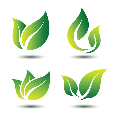 Green leaf eco symbol set