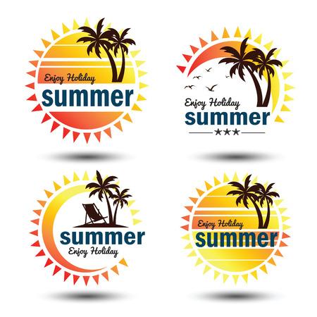 spiaggia: set Estate elementi di design vacanze. Retro e modelli d'epoca.