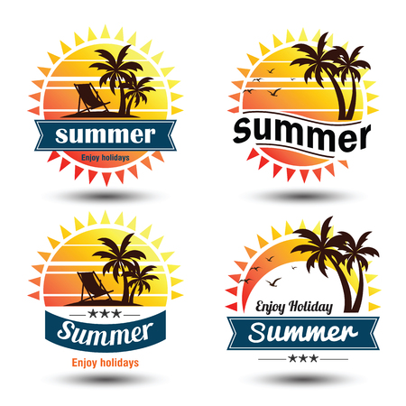 Summer holidays design elements set. Retro and vintage templates.