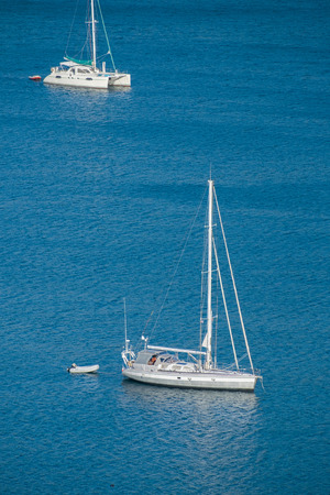 view on sea: Aerial view of sailboat at sea in phuket, Thailand