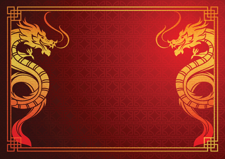 Chinese traditionele sjabloon met chinese draak op rode achtergrond