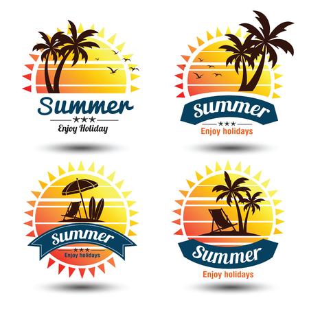 Summer holidays design elements set. Retro and vintage templates. Labels, Badges,emblem,illustration Illustration