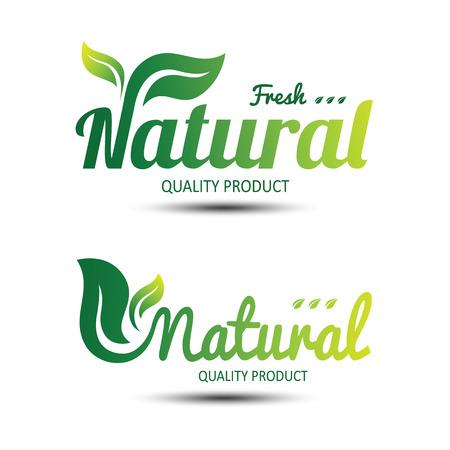 Zestaw etykiet ekologicznych i odznaki, godło projektowania fontów z liśćmi, ilustracji wektorowych