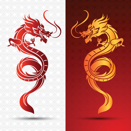 Illustration of Traditional chinese Dragon ,vector illustration Çizim