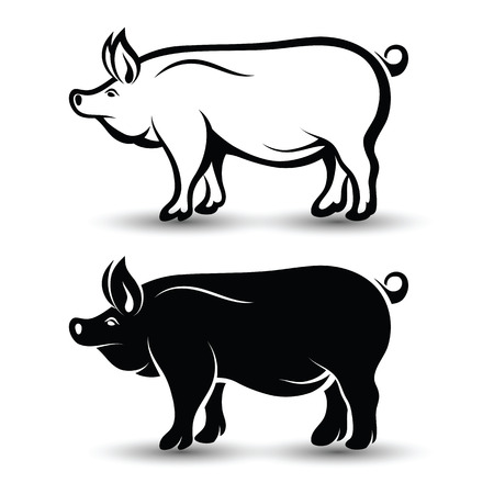animal silhouettes: image of pig silhouette and drawing design on white background