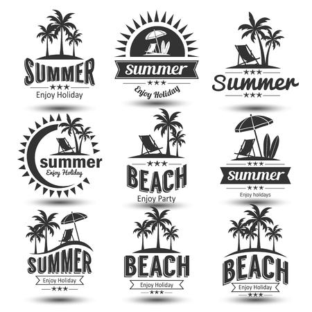 暑假设计元素集。复古和复古模板。标签,徽章,会徽,矢量图