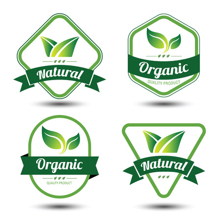 organic farm: Set of eco labels and badges,emblem with leaves ,vector illustration