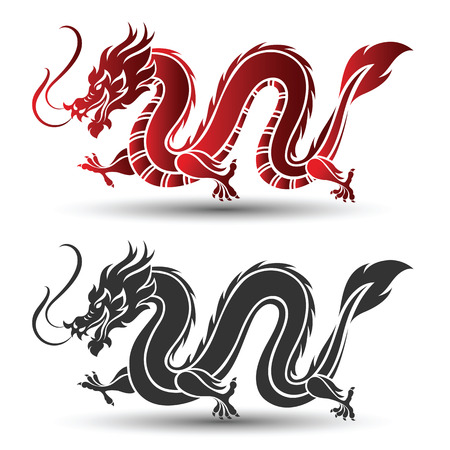Illustration of Traditional chinese Dragon ,vector illustration Vector Illustration