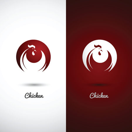 Rooster and cock design symbol on white background , vector illustration