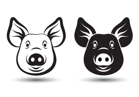 pig: image of face pig silhouette and drawing design on white background,vector illustration Illustration