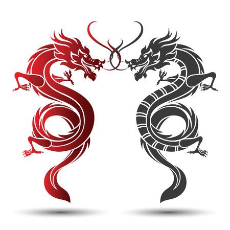 Ilustracja tradycyjnego chińskiego smoka, ilustracji wektorowych