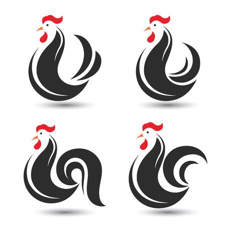 동물: 흰색 배경, 그림 닭 및 수탉 디자인 기호