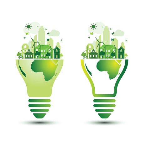 green city: Green city and Eco Earth with light bulb eco concept ,vector illustration