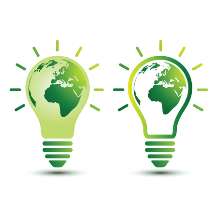 global environment: Light bulb with planet Earth icon Ecology and saving energy concept ,vector illustration