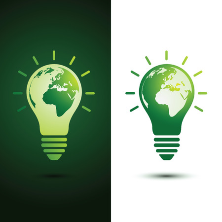 light bulb: Light bulb with planet Earth icon Ecology and saving energy concept ,vector illustration