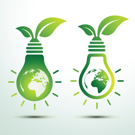 green bulb: Ecology idea green bulb and earth with leave vector illustration Illustration