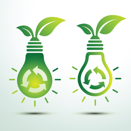 green bulb: Ecology idea green bulb and recycle icon with leave vector illustration Illustration