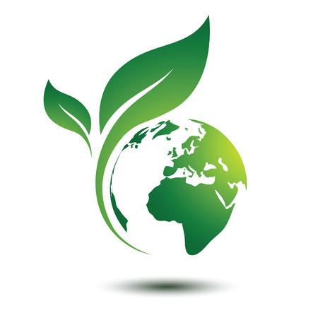 Zielona koncepcja ziemi z liści, ilustracji wektorowych Ilustracje wektorowe