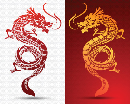 Illustration of Traditional chinese Dragon ,vector illustration Иллюстрация