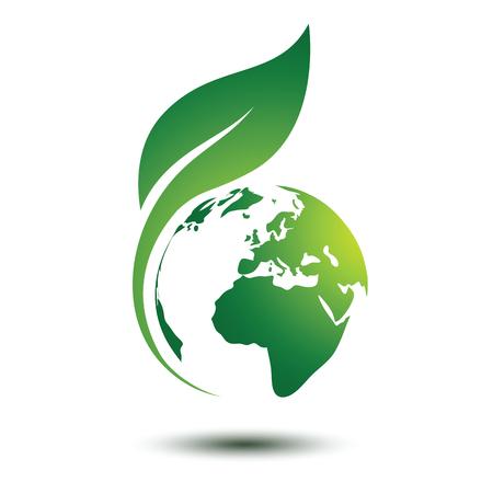Groene aarde concept met bladeren, vector illustratie