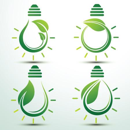 green bulb: Ecology idea green bulb with plant vector illustration Illustration