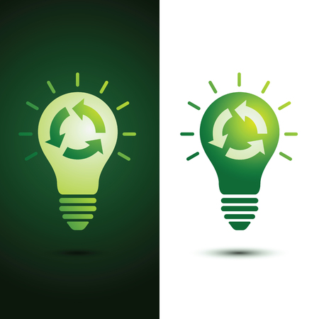 green bulb: Recycle idea green bulb with recycle icon vector illustration
