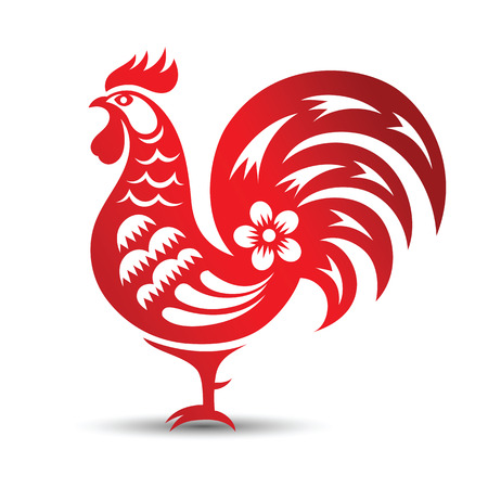 cut: Red paper cut a rooster zodiac symbols,vector illustration