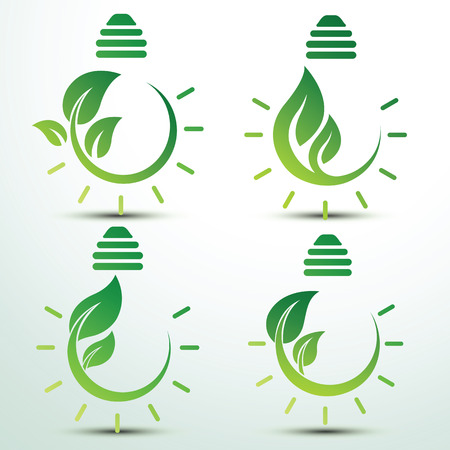 global environment: Ecology idea green bulb with plant vector illustration Illustration