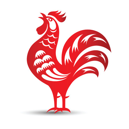 red paper: Red paper cut a rooster zodiac symbols,vector illustration