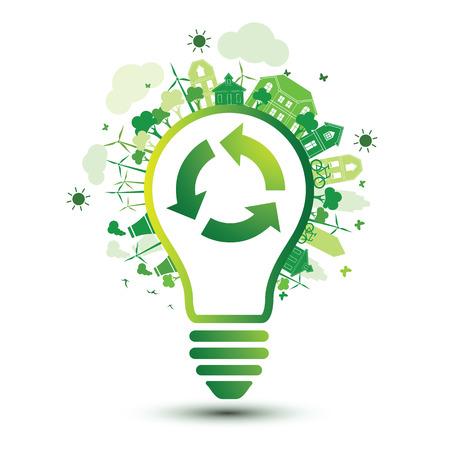 reciclar: ciudad verde y el logotipo de reciclaje con la bombilla concepto de eco, ilustración vectorial Vectores