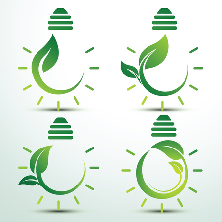 green bulb: Ecology idea green bulb with plant vector illustration Illustration