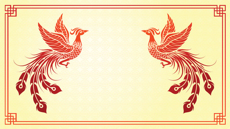 Chinese traditional template with chinese phoenix on red Background  イラスト・ベクター素材