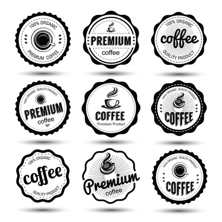 label tag: coffee badges and label icon set , vector illustration Illustration
