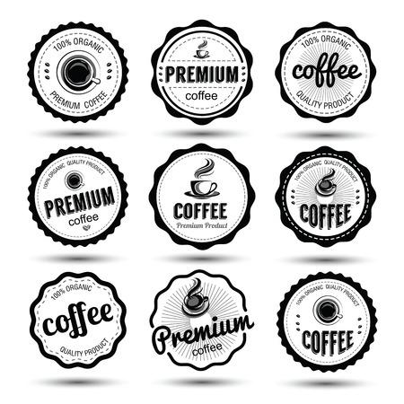 coffee badges and label icon set , vector illustration Vektorové ilustrace