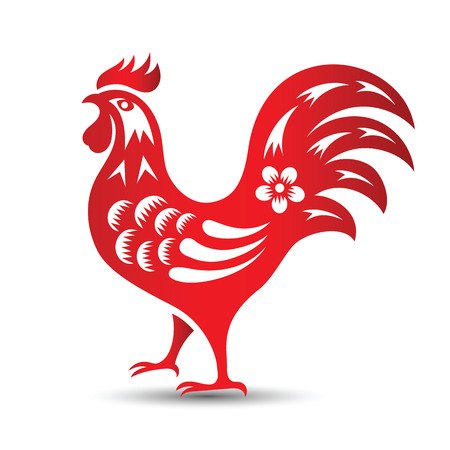 red paper: Red paper cut a rooster zodiac symbols,illustration
