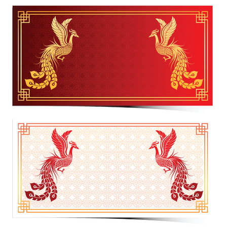 Chinese traditional template with chinese phoenix on red Background