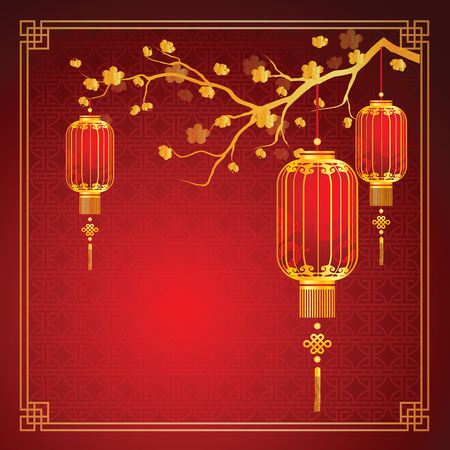 chinese new year card: cherry blossom template with chinese lantern in chinese frame pattern vector illustration