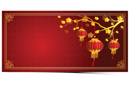 flores chinas: cherry blossom template with chinese lantern in chinese frame pattern vector illustration