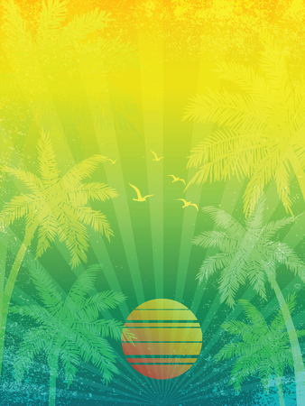 sunrise ocean: summer vacation Sunset background, with Palm trees ,vector illustration