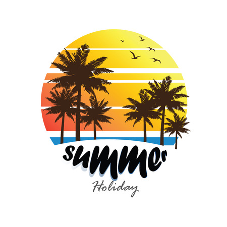 summer trees: summer vacation on tropical beach Sunset label, with Palm trees ,vector illustration