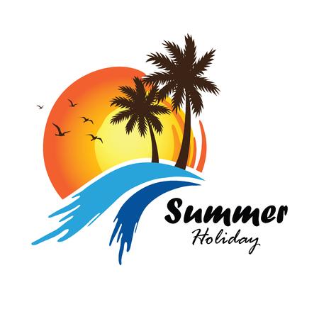 playas tropicales: Las etiquetas de verano las vacaciones de diseño, insignias, emblema, ilustración vectorial