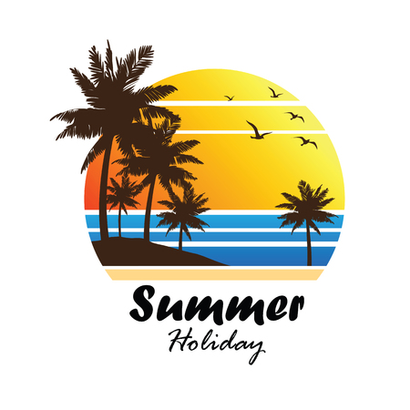 sunset beach: summer vacation on tropical beach Sunset label, with Palm trees ,vector illustration