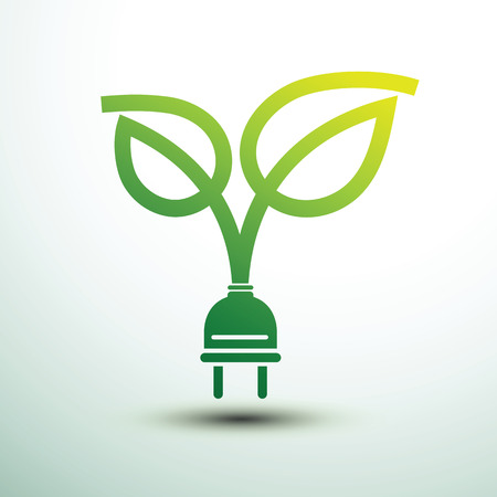 green power: Green eco power plug design with leaf, vector illustration
