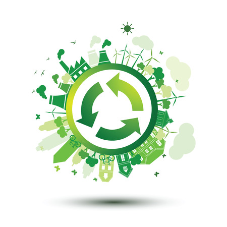 Green city sustainable nature concept with recycle logo,vector illustration