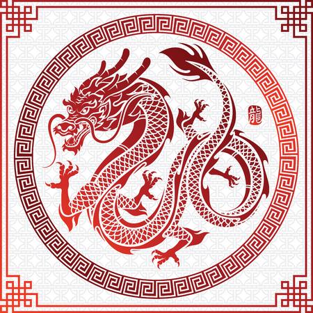 Ilustracja tradycyjni chińskie smoka chińczyk w okrąg ramy charakterze tłumaczy smoka, wektorowa ilustracja.