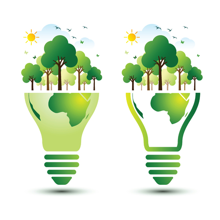 techology: Green Eco Earth with light bulb ecology concept ,vector illustration