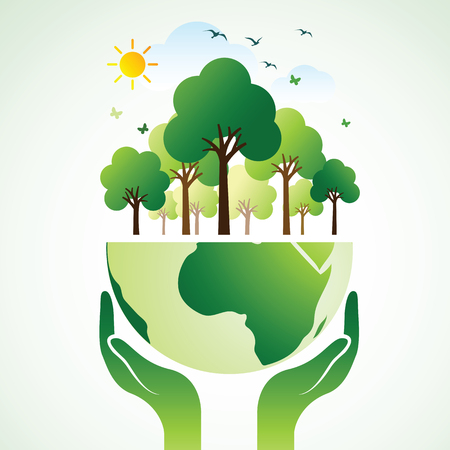 Hands Holding The Green Earth Globe with tree ,Vector Illustration Illusztráció